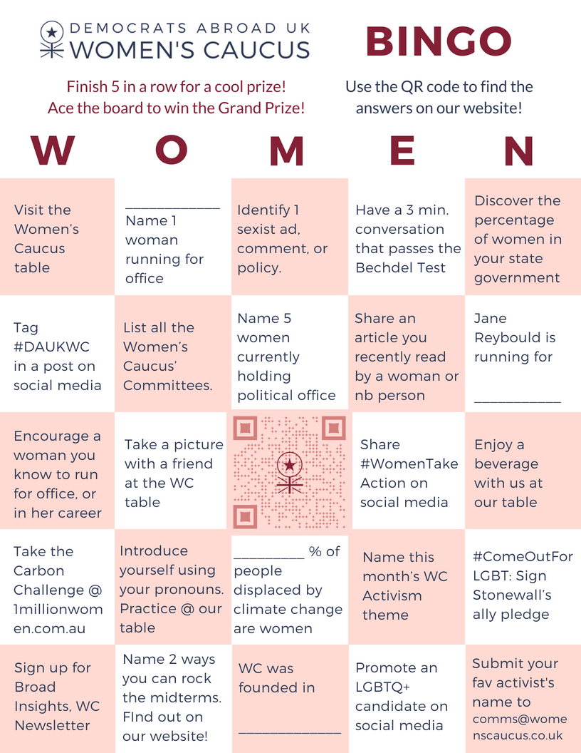 DAUK picnic WC bingo card